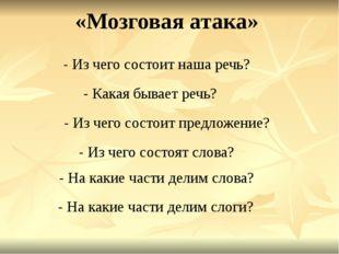 - Из чего состоит наша речь? - Какая бывает речь? - Из чего состоит предложен