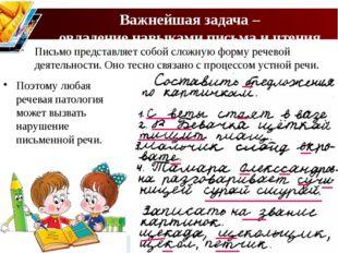 Важнейшая задача – овладение навыками письма и чтения. Письмо представляет со