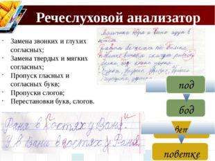 Речеслуховой анализатор Замена звонких и глухих согласных; Замена твердых и м