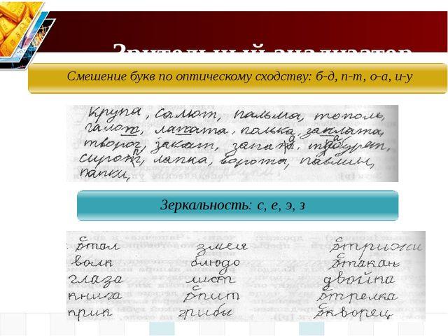 Зрительный анализатор Смешение букв по оптическому сходству: б-д, п-т, о-а,...