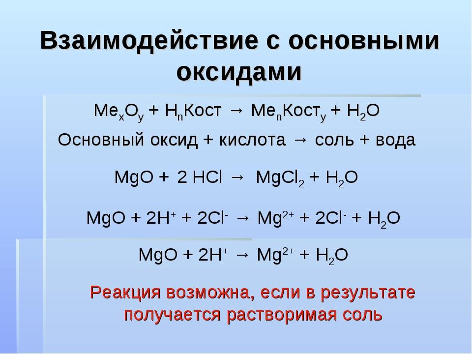 Взаимодействие с основными оксидами МеxOy + HnКост → МеnКостy + H2O Основный...