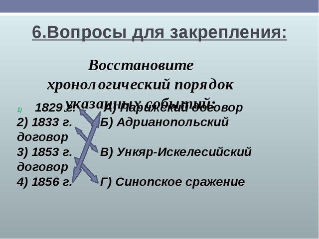 6.Вопросы для закрепления: Восстановите хронологический порядок указанных соб...