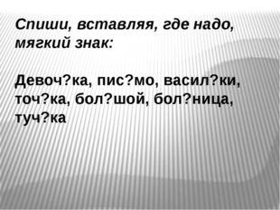 Спиши, вставляя, где надо, мягкий знак: Девоч?ка, пис?мо, васил?ки, точ?ка, б