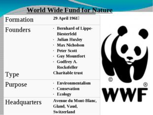 World Wide Fund for Nature Formation 29 April 1961  Founders Bernhard ofLippe