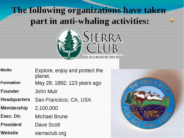 The following organizations have taken part in anti-whaling activities: Motto...