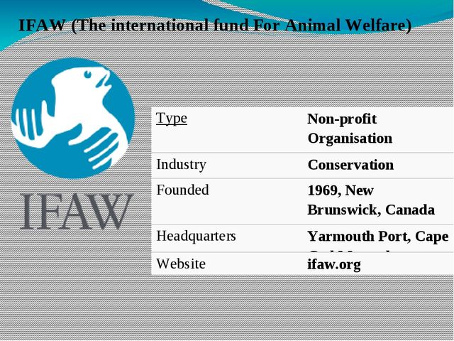IFAW (The international fund For Animal Welfare) Type Non-profitOrganisation...
