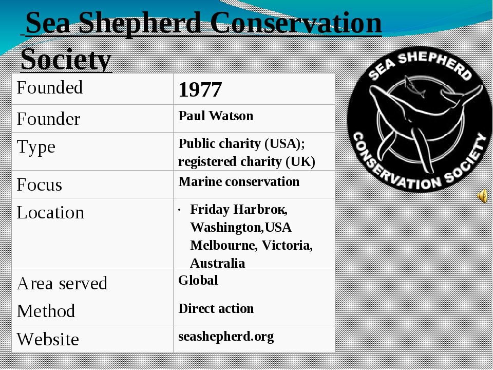 Sea Shepherd Conservation Society Founded 1977 Founder Paul Watson Type Publ...