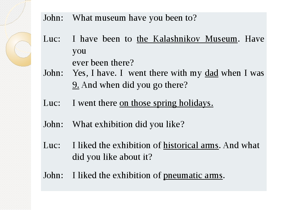 John: What museum have you been to? Luc: I have been tothe Kalashnikov Museum...