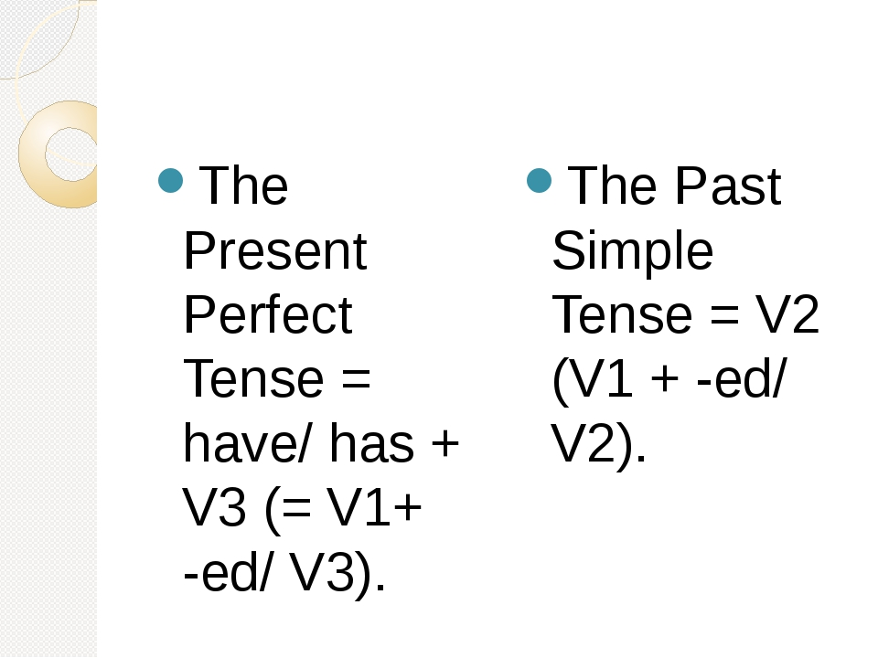 The Present Perfect Tense = have/ has + V3 (= V1+ -ed/ V3). The Past Simple...