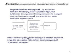* Алгоритмы: основные понятия, примеры практической разработки Интуитивное по