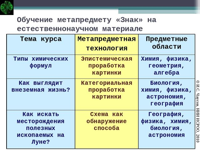 Обучение метапредмету «Знак» на естественнонаучном материале © И.С. Чаусов, Н...
