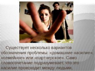Существует несколько вариантов обозначения проблемы: «домашние насилие», «се