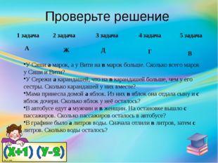 Проверьте решение 1 задача А 2 задача Ж 3 задача Д 4 задача Г 5 задача В У Са