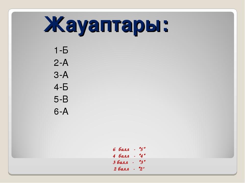 """Жауаптары: 1-Б 2-А 3-А 4-Б 5-В 6-А 6 балл - """"5"""" 4 балл - """"4"""" 3 балл - """"3"""" 2..."""