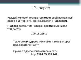 IP- адрес Каждый узловой компьютер имеет свой постоянный адрес в Интернете, о