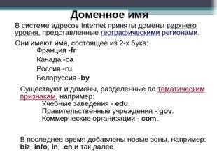 В системе адресов Internet приняты домены верхнего уровня, представленные гео