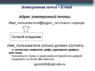 Электронная почта – E-mail Адрес электронной почты Имя_пользователя@адрес_поч
