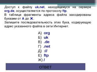 Доступ к файлу uk.net, находящемуся на сервере org.de, осуществляется по прот