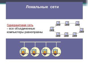 Одноранговая сеть – все объединенные компьютеры равноправны