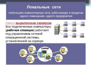 Сеть с выделенным сервером. Все подключенные компьютеры (рабочие станции) раб