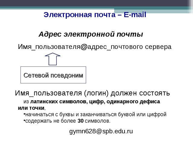 Электронная почта – E-mail Адрес электронной почты Имя_пользователя@адрес_поч...