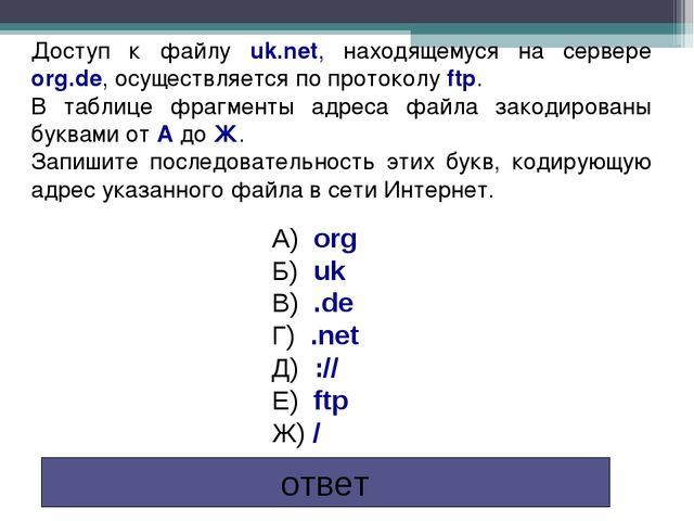 Доступ к файлу uk.net, находящемуся на сервере org.de, осуществляется по прот...
