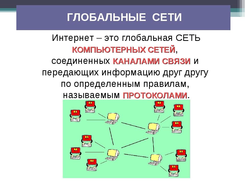 Интернет – это глобальная СЕТЬ КОМПЬЮТЕРНЫХ СЕТЕЙ, соединенных КАНАЛАМИ СВЯЗИ...