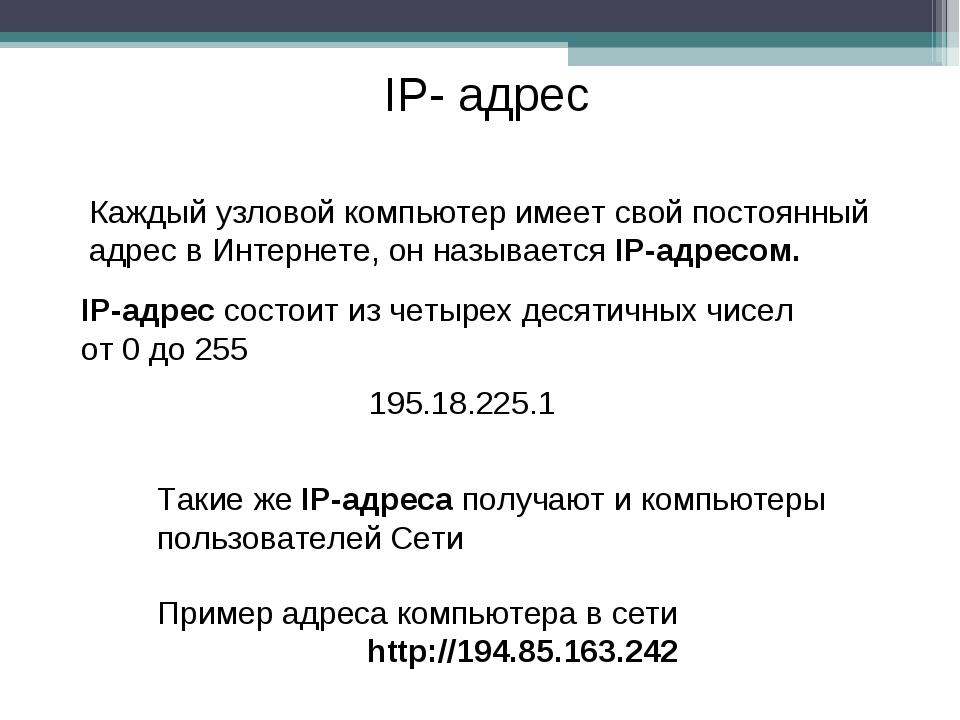IP- адрес Каждый узловой компьютер имеет свой постоянный адрес в Интернете, о...