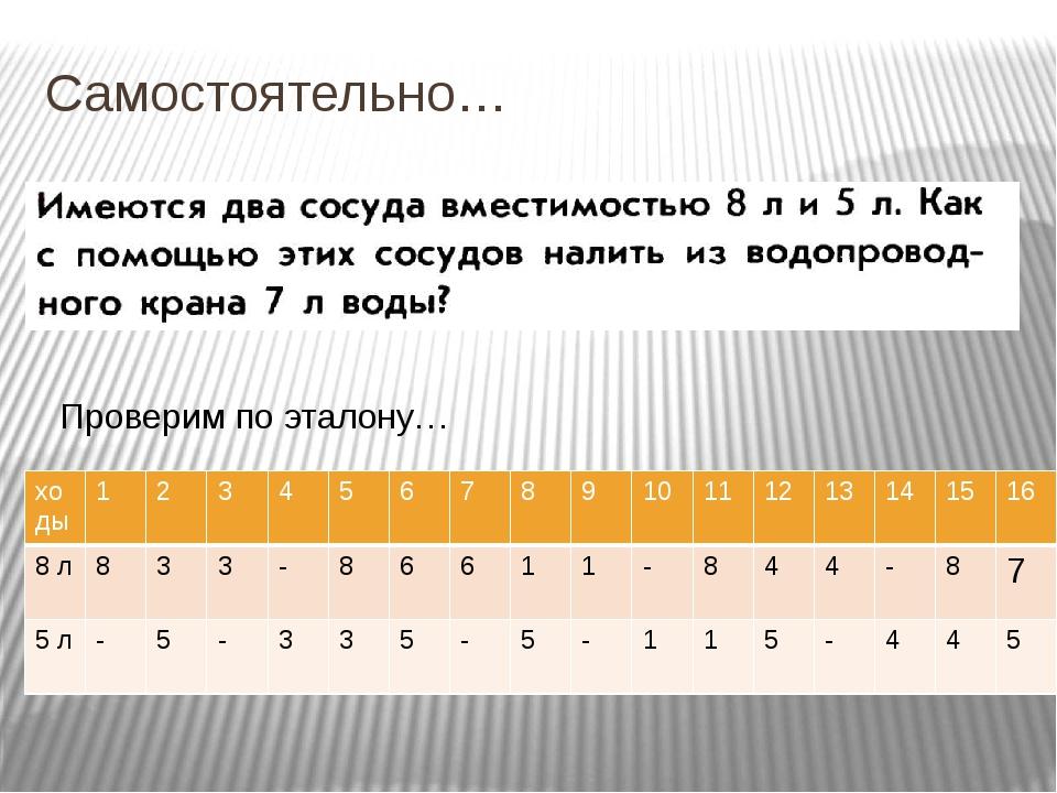 Самостоятельно… Проверим по эталону… ходы 1 2 3 4 5 6 7 8 9 10 11 12 13 14 15...