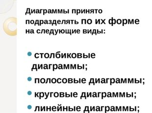 Диаграммы принято подразделять по их форме на следующие виды: столбиковые диа