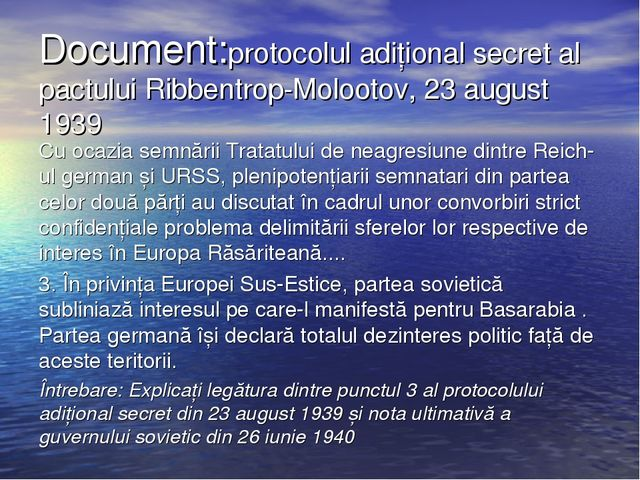 Document:protocolul adițional secret al pactului Ribbentrop-Molootov, 23 augu...