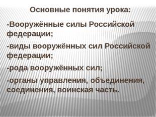 Основные понятия урока: -Вооружённые силы Российской федерации; -виды вооруж