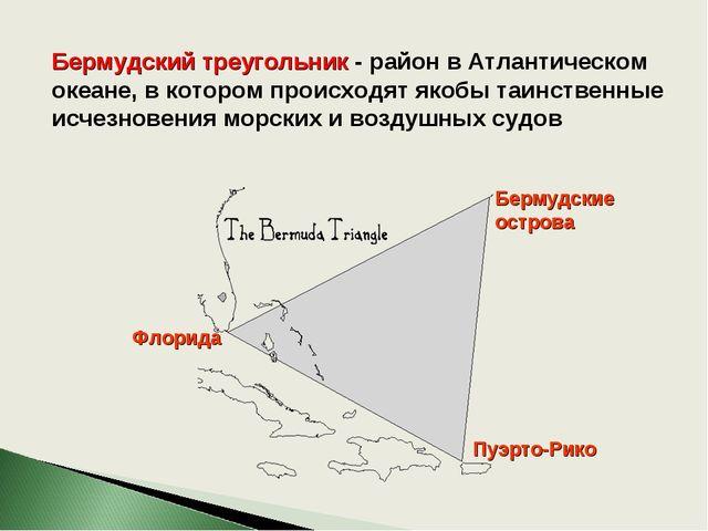 Бермудский треугольник - район в Атлантическом океане, в котором происходят я...