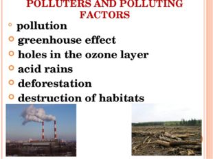 POLLUTERS AND POLLUTING FACTORS pollution greenhouse effect holes in the ozon
