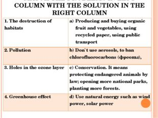 MATCH THE PROBLEMS IN LEFT COLUMN WITH THE SOLUTION IN THE RIGHT COLUMN 1. Th
