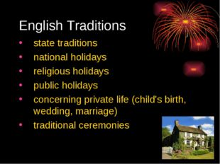 English Traditions state traditions national holidays religious holidays publ
