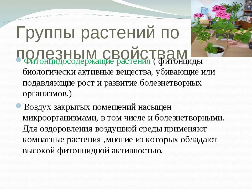 Группы растений по полезным свойствам Фитонцидосодержащие растения ( фитонцид...