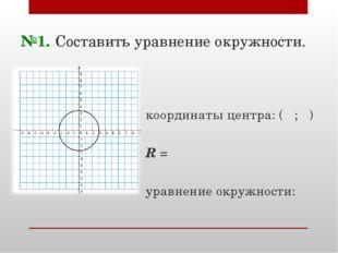 №1. Составить уравнение окружности. координаты центра: ( ; ) R = уравнение ок