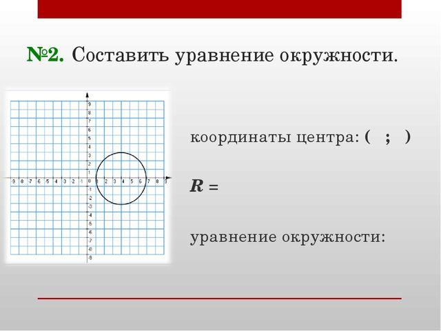 №2. Составить уравнение окружности. координаты центра: ( ; ) R = уравнение ок...