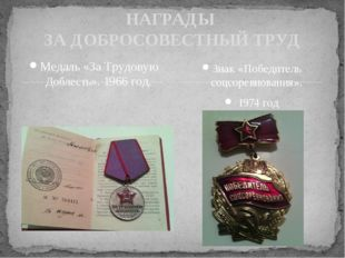 Медаль «За Трудовую Доблесть». 1966 год. НАГРАДЫ ЗА ДОБРОСОВЕСТНЫЙ ТРУД Знак