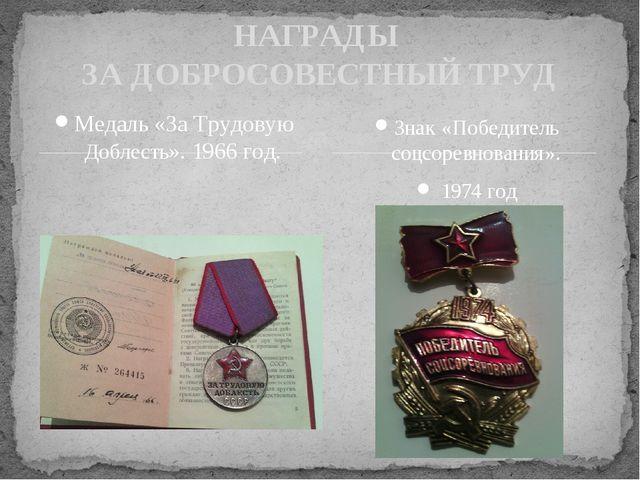 Медаль «За Трудовую Доблесть». 1966 год. НАГРАДЫ ЗА ДОБРОСОВЕСТНЫЙ ТРУД Знак...