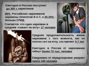 Ежегодно в Россию поступает до 300 т. наркотиков 89% Российских наркоманов за