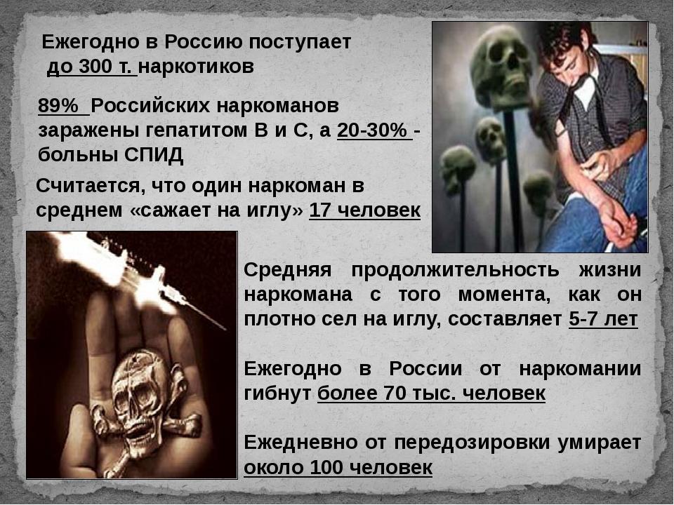 Ежегодно в Россию поступает до 300 т. наркотиков 89% Российских наркоманов за...