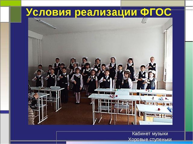 Условия реализации ФГОС Кабинет музыки Хоровые ступеньки