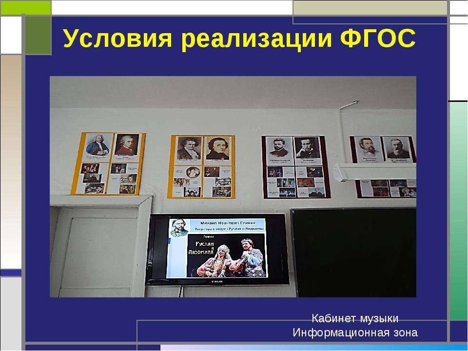 Условия реализации ФГОС Кабинет музыки Информационная зона