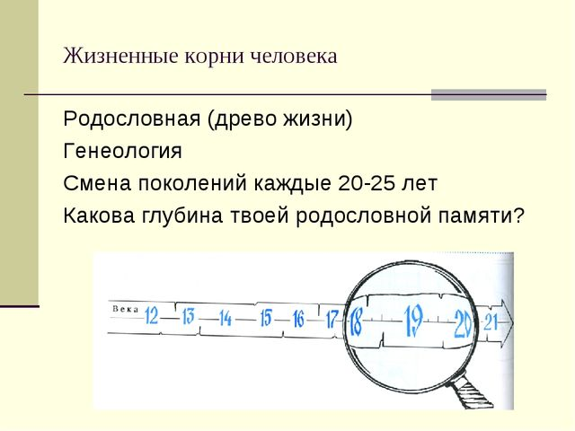 Жизненные корни человека Родословная (древо жизни) Генеология Смена поколений...