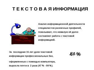 Т Е К С Т О В А Я ИНФОРМАЦИЯ Анализ информационной деятельности специалистов
