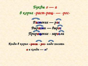 Буквы о — а в корне -раст-ращ- — -рос- Растение — рос Вырасти — вырос Прираще