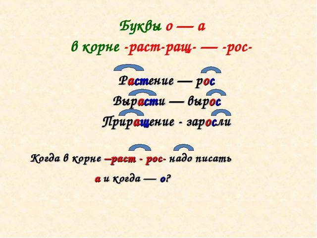 Буквы о — а в корне -раст-ращ- — -рос- Растение — рос Вырасти — вырос Прираще...