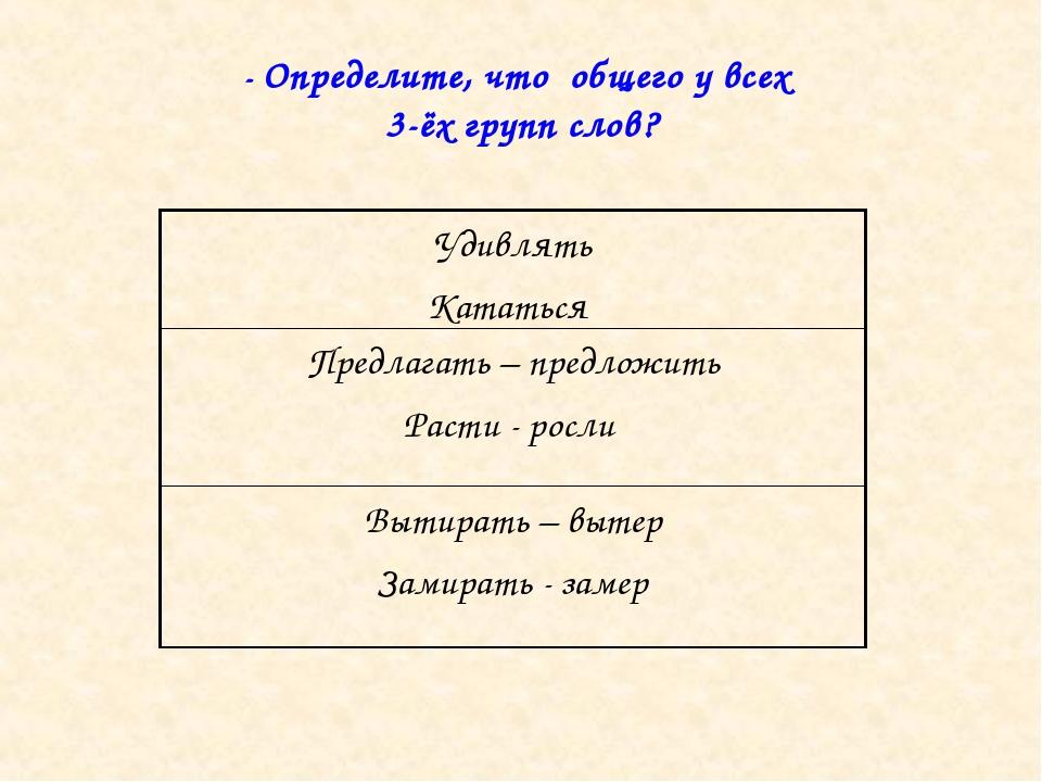 - Определите, что общего у всех 3-ёх групп слов? Удивлять Кататься Предлагать...
